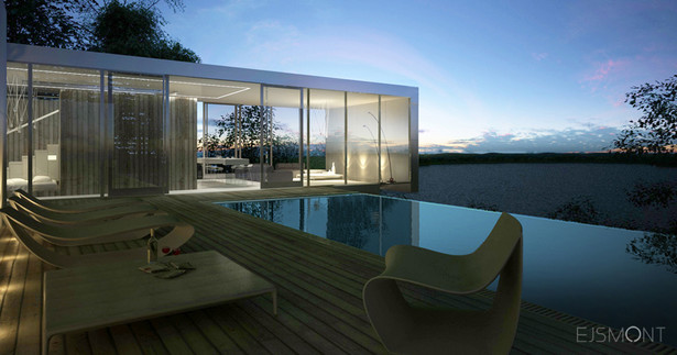 Dom minimalistyczny z przeszkleniami, nad jeziorem - projekt Ejsmont