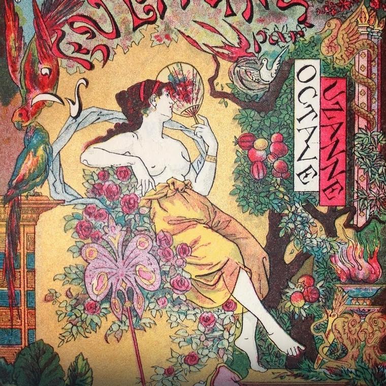"""Aż trudno uwierzyć, ile trendów zapoczątkowały kobiety lekkich obyczajów/ Paul Avril, okładka książki Octave'a Uzanne pt. """"L'Éventail"""", Paris 1882"""