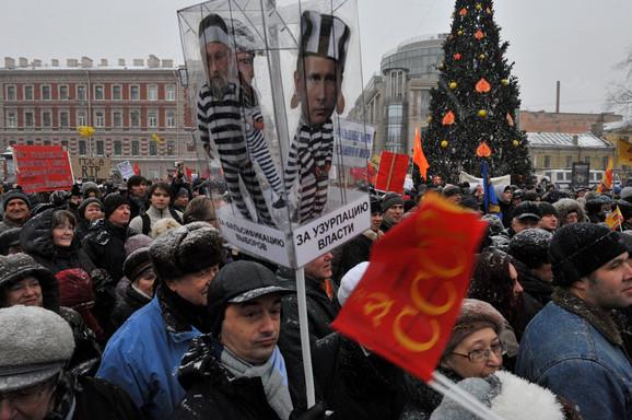 Demonstranti u Sankt Peterburgu
