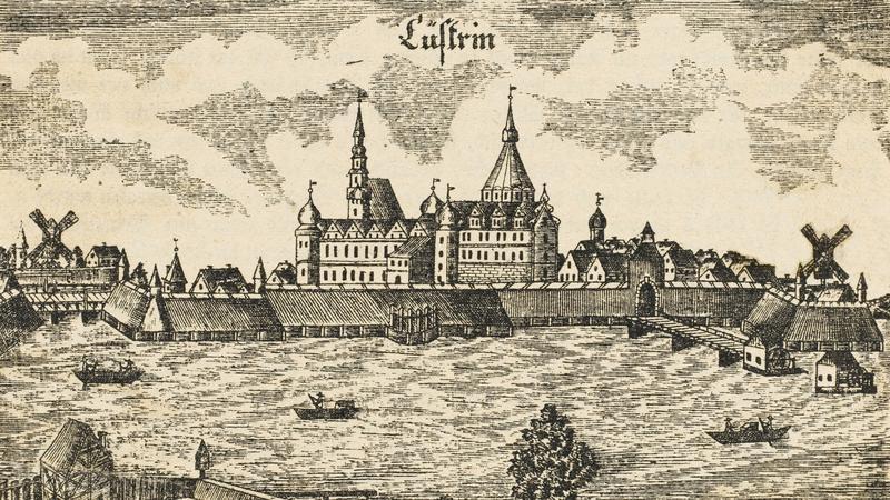 Kostrzyn (Kustrin) na rycinie z roku 1728