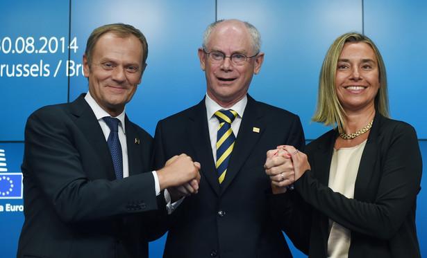 Donald Tusk, Federica Mogherini, Herman Van Rompuy. Fot. PAP/Radek Pietruszka
