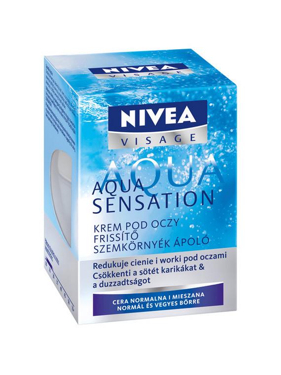 Krem pod oczy Aqua Sensation NIVEA VISAGE wyraźnie redukuje cienie i opuchliznę pod oczami;