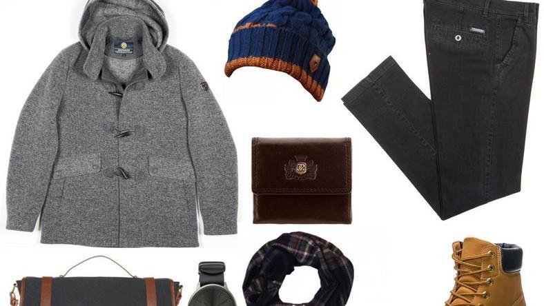 W pierwszej stylizacji postaw na spokojną kolorystykę całości, ożywioną dodatkami w cieplejszych barwach, które mają moc przyciągania wzroku – czapkę, szalik i zawieszaną przez ramię torbę.