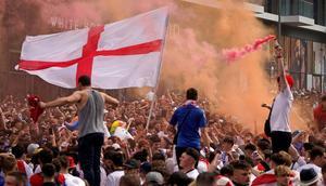 England fans outside Wembley ahead of the Euro 2020 final Creator: Niklas HALLE'N