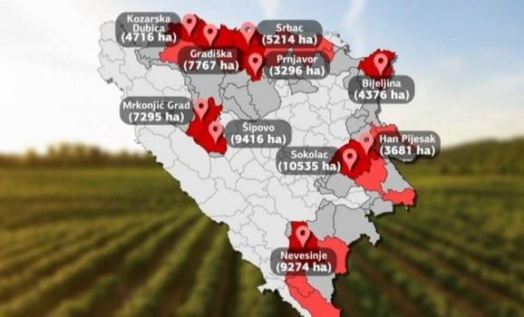 Poljoprivredno zemljište po gradovima i opštinama