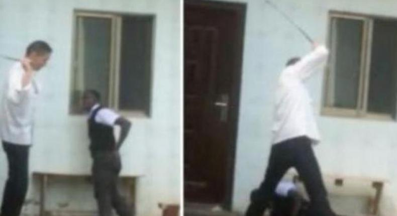 A collage image of Chinese boss caning his employee at Chez Wou restaurant