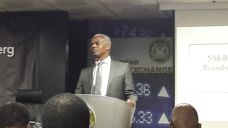 Dr Adedoyin Salami, during the lecture at the NSE-Bloomberg CEO Roundtable