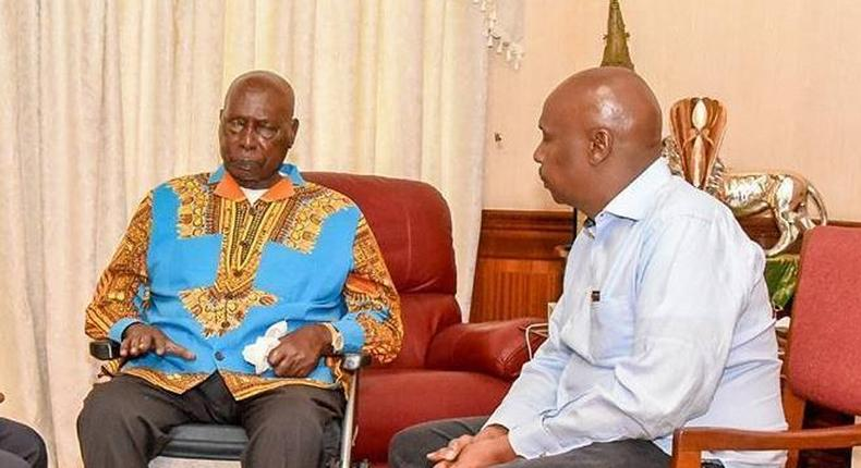 File image of retired President Daniel Moi with Baringo Senator Gideon Moi and Nakuru Governor Lee Kinyanjui