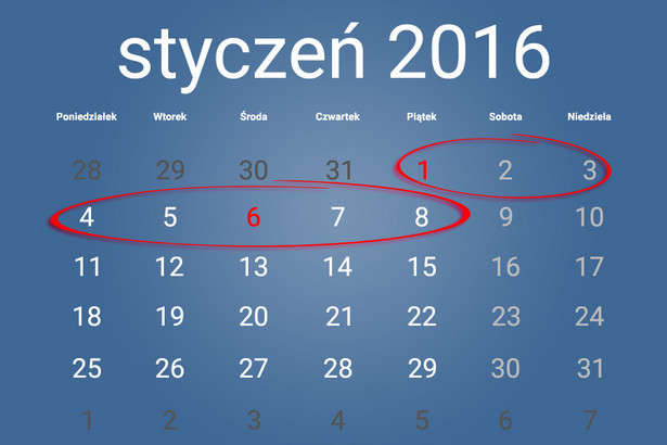 Biorąc wolne 4 i 5 stycznia, otrzymasz6 dni wolnego. Dobierając jeszcze urlop 7 i 8, wychodzi już 10 dni odpoczynku.