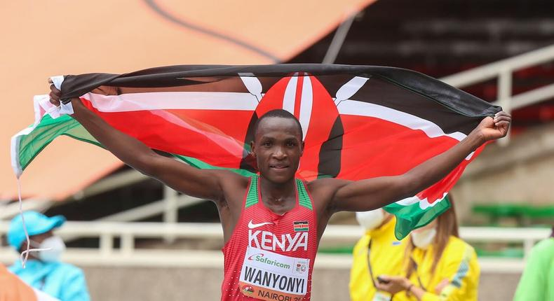 Wanyonyi crossed the finish line in a personal best mark of 42:10.84 beating India's Amit to second spot in 42:17.94