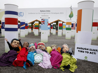 COP21 Climate Change Conference - Big Heads protest