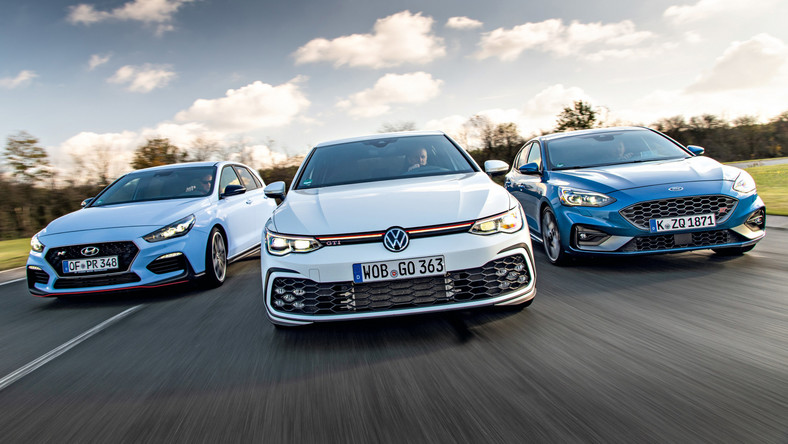 Ford Focus ST, Hyundai i30 N Performance i Volkswagen Golf GTI na Contidromie