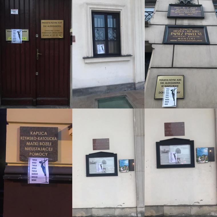 Plakaty na kościele św. Aleksandra w Warszawie.