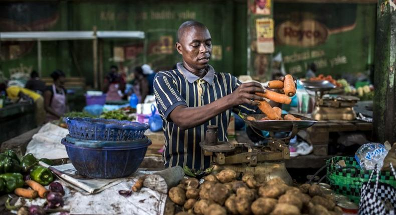 A market trader in Mombasa, Kenya.