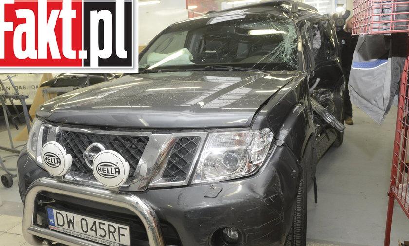 Rozbity samochód Rafała Dutkiewicza