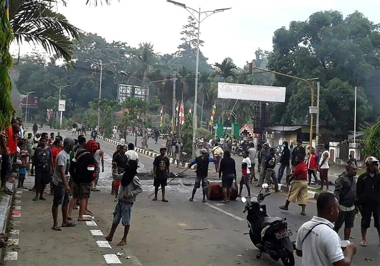 Demonstrators took to the streets of Manokwari, the capital of West Papua province, on August 19