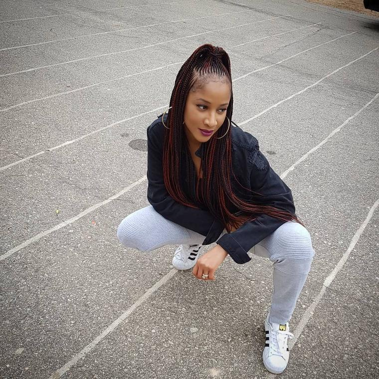 Adesua Etomi inna more casual look with Adidas trainers [Credit: Vogue]