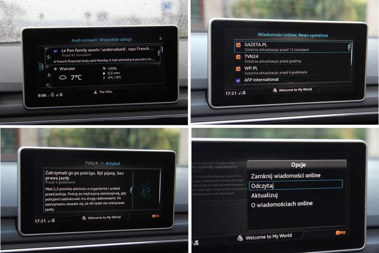 Audi A4 2016 Connect wiadomosci