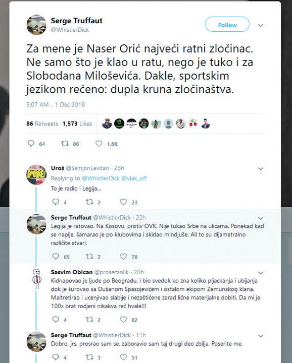 Trifunović je na tviteru napisao svoju rekaciju na oslođenje Orića