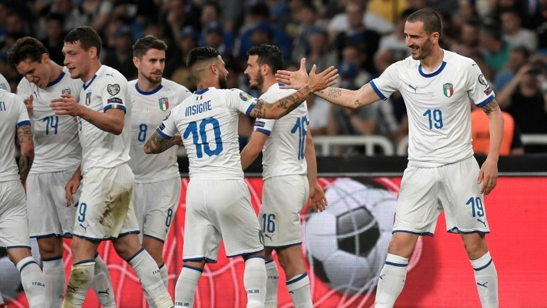 Leonardo Bonucci (R) celebrates after scoring in Italy's 3-0 Euro 2020 qualifying win over Greece