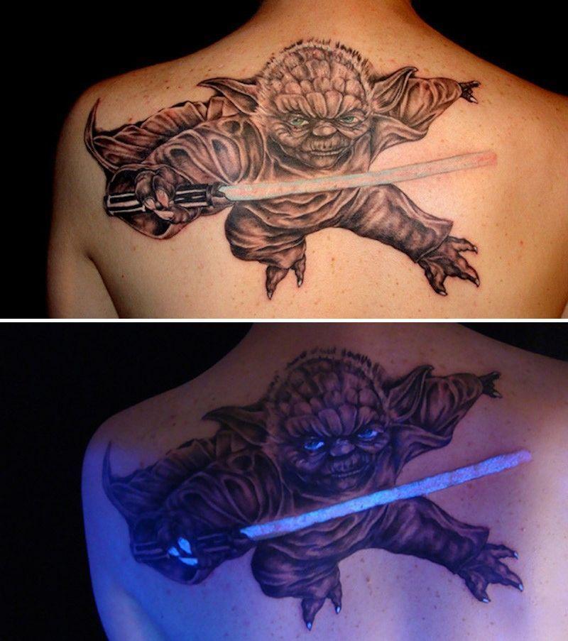 Te Tatuaże świecą W Ciemności Wszystko Przez Promienie Uv