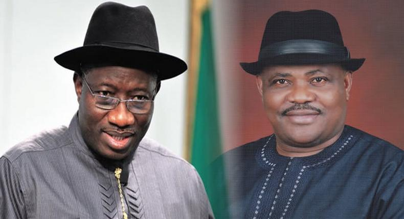 Former President Goodluck Jonathan and Rivers State Governor, Nyesom Wike. (PMNEWS)
