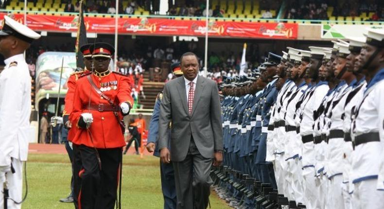 File image of President Uhuru Kenyatta at a past national celebrations