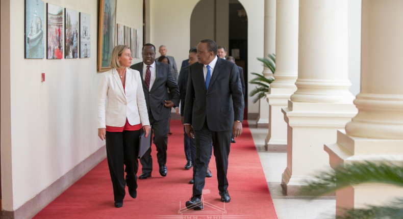 EU High Representative Foreign Affairs and Security Policy, Federica Mogherini with President Uhuru Kenyatta at State House.