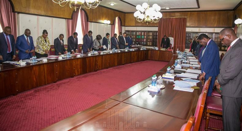 President Uhuru Kenyatta during the first Cabinet meeting 2019 (PSCU)