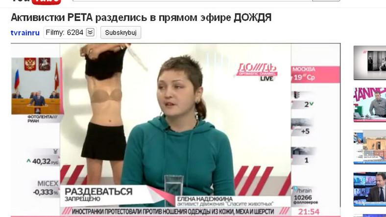Aktywistka PETA rozebrała się w rosyjskiej telewizji