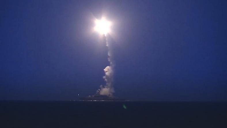 RUSSIA SYRIA AIR STRIKES (Russian Caspian sea-based cruise missiles strike in Syria)