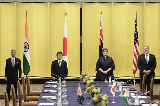 """Spotkanie przedstawicieli USA, Indii, Australii i Japonii w ramach Czterostronnego Dialogu na Rzecz Bezpieczeństwa (Quadrilateral Security Dialogue) """"Quad"""". 6.10.2020"""