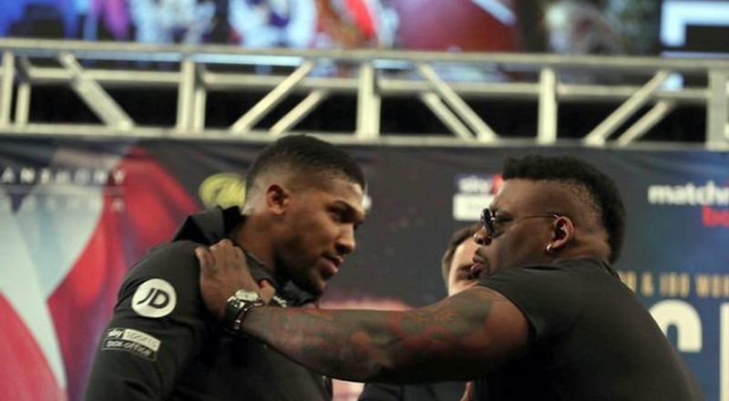 Anthony Joshua's New York face off with Jarrell Miller turns physical