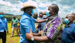 Former Prime Minister Raila Odinga received by Interior CS Fred Matiang'i in Nyamira county