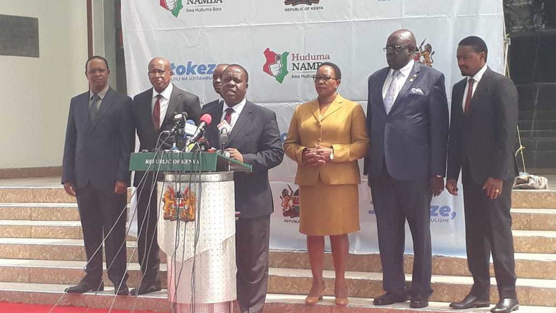 Interior CS Fred Matiang'i gives an update on Huduma Namba registration from Harambee House (Twitter)