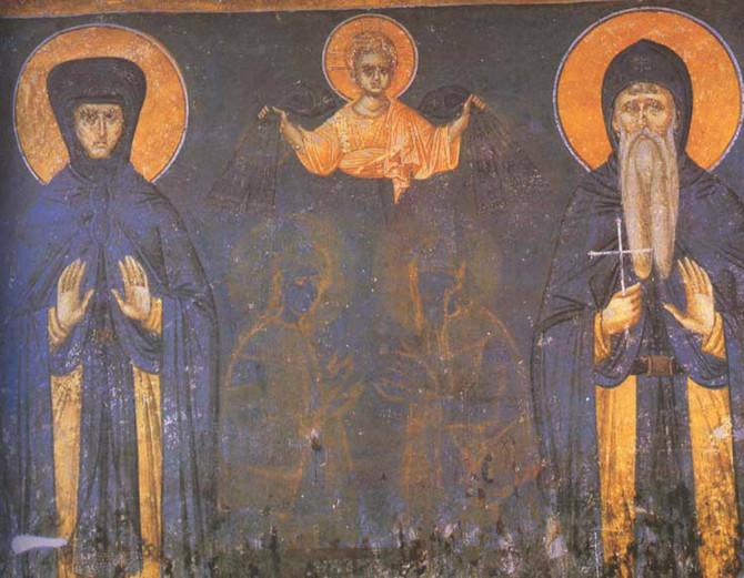 Kraljica Jelena sa sinom, kraljem Milutinom, freska iz Manastira Gračanica, 1324. godina