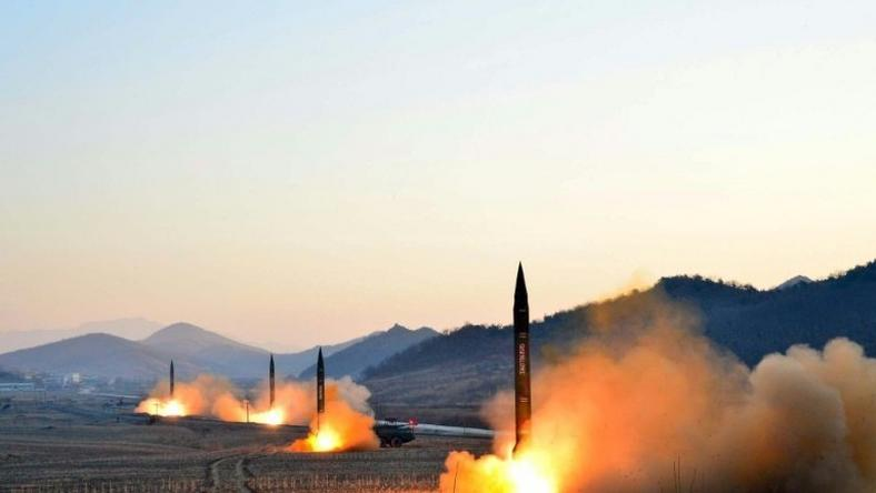 Undated picture released by North Korea's Korean Central News Agency on March 7, 2017 shows the launch of four ballistic missiles by the Korean People's Army during a military drill at an undisclosed location in North Korea