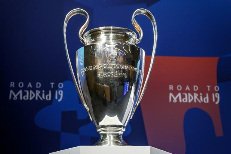 The UEFA Champions league trophy on display in Nyon before the draw for the quarter-finals