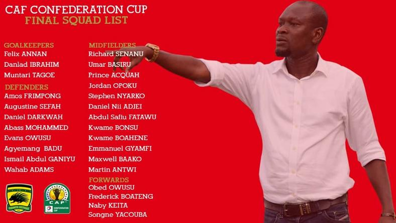 Kotoko submit final squad for CAF confederation Cup