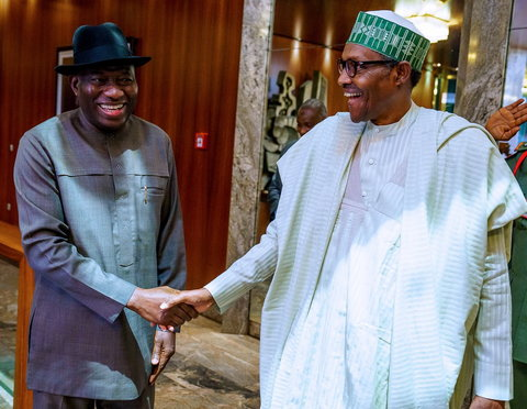 NIRSAL was incorporated under Jonathan (L) but took off under Buhari (R) (Presidency)