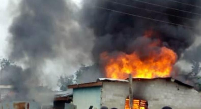 File image of a house on fire. A house fire wiped out a family of four on Sunday, April 21, 2019