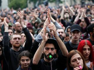 Protesters attend a rally against the Georgian authorities' anti-drug policy in Tbilisi