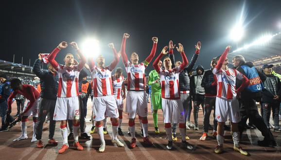 Slavlje igrača Zvezde nakon pobede nad Liverpulom koji je sinoć postao prvak Evrope