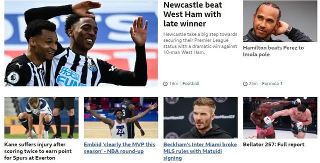 Na naslovnoj strani BBC Sporta - Priča o Embidu je tik ispod najnovije, a najvažnije vesti za Engleze (fudbal, naravno)