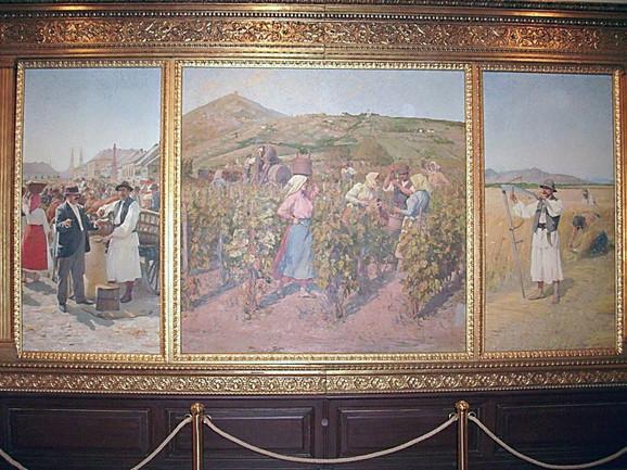 Zdanje Društva riklijanera ovekovečeno je i na triptihu Paje Jovanovića (na srednjem delu iza berača grožđa), naslikanom krajem 1895, uoči Milenijumske izložbe u Budimpešti
