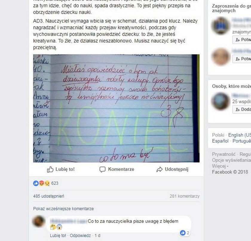 Nauczycielka napisała to pod zadaniem trzecioklasistki. Burza w sieci
