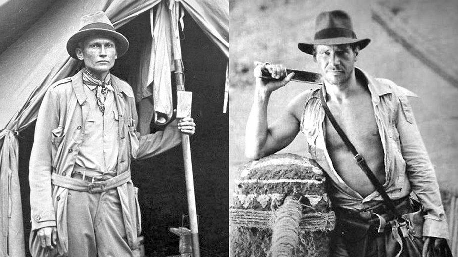 Hiram Bingham III w Machu Picchu i Harrison Ford w roli Indiany Jonesa