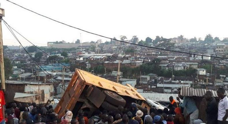 Accident Alert: Lorry veers off Southern Bypass crashes into house in Raila Estate, Kibra