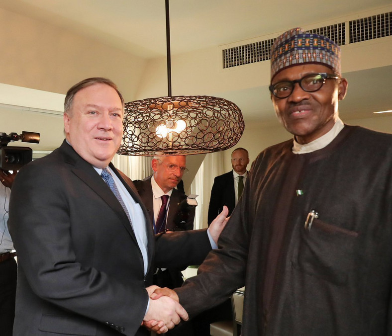 United States' Secretary of State, Mike Pompeo (left), released his statement on the same day Nigeria's President Muhammadu Buhari (right) called on citizens to trust in his leadership to end insecurity in many restive states [VON]