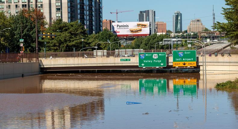 Record-breaking flooding in Philadelphia.